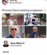 Friends, Memes, and Wow: clive  @thehaloclive  Princess Diana wearing sunglasses  Owen Wilson  @OwenWilson  WOW Dm this to 20 friends 😆😂