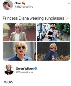 Wow, Owen Wilson, and Princess: clive  @thehaloclive  Princess Diana wearing sunglasses  Owen Wilson  @owenWilson  WOW