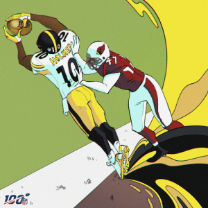 Memes, Nfl, and Game: ?  CLMEPO:  NFL Instantly iconic.  Santonio Holmes called game for the @steelers in #SBXLIII! @ToneTime10 #NFL100 (via @nflthrowback) https://t.co/LZKtb3ELKL