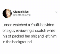 Shit, youtube.com, and Kiss: Cloacal Kiss  @victoriaxxviii  lonce watched a YouTube video  of a guy reviewing a scotch while  his gf packed her shit and left him  in the background