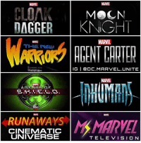 Abc, Hulu, and Memes: CLOAK  MeCN  DAGGER  KNIGHT  MARVEL  MARNE  COMING 2018  IG I Ga DC. MARVEL UNITE  FREE FOR  MARTEL  bc  RUNAWAYS Man  CINENMATIC  UNIVERSE  TELE VISION What MCU TV Shows do you want to see ? 🤔 The Marvel Television Universe is coming together ! 😱 Some of these MarvelTV Shows have already been made, others are confirmed to be coming soon and others are rumored. - AgentsofShield : ABC Show AgentCarter : ABC Show InHumans : ABC Show CloakAndDagger : ABC Free Form Series The NewWarriors : ABC Free Form Series RunAways : Hulu Series MoonKnight and MsMarvel Rumored. MarvelCinematicUniverse 💥 MCUTV