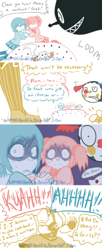 sonocomics:  Chew your food Charlotte :v This is another request from a commissionee that helped me reach my goal in June of 2018!  They wanted to see what it would be like if Mami hadn't gotten her soul gem eaten by Charlotte and she just got back up again.How morbid =v=;;Click HERE to check out more assorted anime comics, including more Madoka Magica! Click HERE to view my schedule for the current month!      : Clonyo uwo! Make   wont be necessary  So hu was jish  an isin or  フ   Oh dear   ol-  might look bad-  okan!  eow  רו sonocomics:  Chew your food Charlotte :v This is another request from a commissionee that helped me reach my goal in June of 2018!  They wanted to see what it would be like if Mami hadn't gotten her soul gem eaten by Charlotte and she just got back up again.How morbid =v=;;Click HERE to check out more assorted anime comics, including more Madoka Magica! Click HERE to view my schedule for the current month!