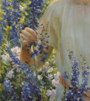 closeupofpaintings:  Charles Courtney Curran - Betty Newell, 1922 (detail), oil on canvas: closeupofpaintings:  Charles Courtney Curran - Betty Newell, 1922 (detail), oil on canvas
