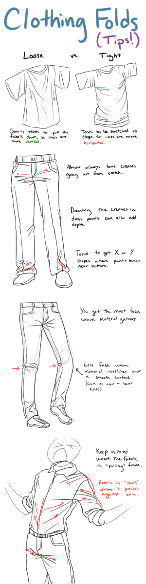 "Smooth, Struggle, and Tumblr: Clothing Folds  Tps!)  oose  VS.  tends +o  fadrc cown, so line» are  more VerfiCal  pull theTends to he stretvhed to  ed?j>, 5» line> ar^ more   Almost aluags hau/r Creases  ways haw Creases  the creases w  dress pant  s can also add  dep. Paats an  OV  shapes whe^ Pants an  near lbottom.   ou g  wnere Matenal aaters  6U  Less  ld wher  a Smooth Sur Ene  Knee)   Keep in mird  where hnbi  in3  ""J  Fabrie is ""stik  where it presses  nstskin alfredtalia:  This is still something I struggle with, so this is less a tutorial and more just a collection of tips and things I've noticed when drawing clothing folds! I hope this helps some of you!"