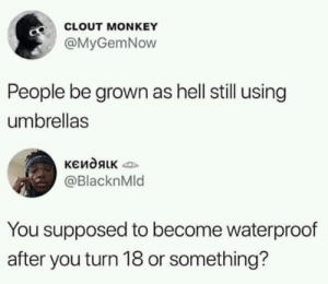 *no title needed* by redonehabib MORE MEMES: CLOUT MONKEY  @MyGemNow  People be grown as hell still using  umbrellas  @BlacknMld  You supposed to become waterproof  after you turn 18 or something? *no title needed* by redonehabib MORE MEMES
