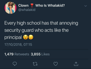 Dank, Fbi, and Memes: Clown Who Is Whalakid?  @whalakid  Every high school has that annoying  security guard who acts like the  principal  17/10/2018, 07:15  1,479 Retweets 3,855 Likes They think they are FBI agents or some shit by KingPZe MORE MEMES