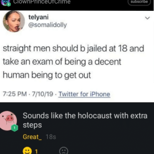 srsfunny:  Pretty much: ClownPrinc  subscribe  me  telyani  @somalidolly  straight men should b jailed at 18 and  take an exam of being a decent  human being to get out  7:25 PM 7/10/19 Twitter for iPhone  Sounds like the holocaust with extra  steps  Great_ 18s  1 srsfunny:  Pretty much