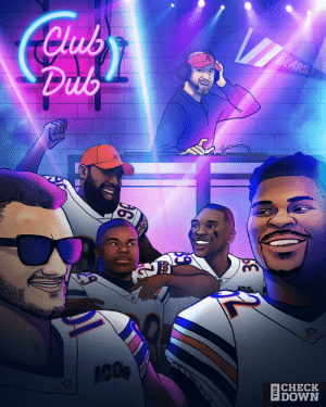 #ClubDub is OPEN on Monday night for the @ChicagoBears! #Bears100 (via @thecheckdown) https://t.co/3NzOBypxWu: Club  Dub  BEARS  GN  Inll  NFL  CHECK  DOWN  |анL #ClubDub is OPEN on Monday night for the @ChicagoBears! #Bears100 (via @thecheckdown) https://t.co/3NzOBypxWu
