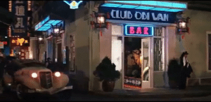In Indiana Jones and the Temple of Doom (1984), Indiana Jones escapes Club Obi Wan in the beginning of the movie, a nod to the Star Wars franchise. Both franchises were made by Lucasfilm and star Harrison Ford (Indiana Jones and Han Solo): CLUB OBI WAN  BAR In Indiana Jones and the Temple of Doom (1984), Indiana Jones escapes Club Obi Wan in the beginning of the movie, a nod to the Star Wars franchise. Both franchises were made by Lucasfilm and star Harrison Ford (Indiana Jones and Han Solo)