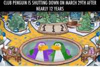 Memes, Penguin, and Penguins: CLUB PENGUIN IS SHUTTING DOWN ON MARCH 29TH AFTER  NEARLY 12 YEARS You will be missed :(