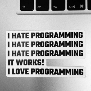 There is a thin Line Between Hate and Love, and that is …: cmd  fn  ctrl  I HATE PROGRAMMING  I HATE PROGRAMMING  IHATE PROGRAMMING  IT WORKS!  I LOVE PROGRAMMING There is a thin Line Between Hate and Love, and that is …