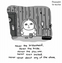 Af, Memes, and Buzzfeed: Cmomowelch  for buzzfeed  Never the bridesmaid  Never the bride  Never the plus one.  Never even invited.  Never upset about any of the above. Single AF (By @momowelch)