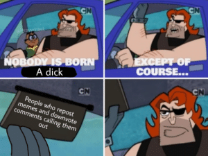 Memes, Dick, and Who: CN  CN  u/gravymask  ΕXCEPΡΟΡ  COURSE...  NOBODY IS BORN  A dick  CN  CN  People who repost  memes and downvote  comments calling them  out People who do this suck