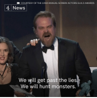 """""""It's really sad that the voice of divisiveness can prevail over the one of unity""""   From Dev Patel and Emma Stone to the cast of Stranger Things, the Screen Actors Guild takes on Donald J. Trump's """"Muslim ban"""". President Trump denies the visa suspensions are to do with religion.: CN COURTESY OF THE 22ND ANNUAL SCREEN ACTORS GUILD AWARDS  4 News  We will get past the lies  We will hunt monsters. """"It's really sad that the voice of divisiveness can prevail over the one of unity""""   From Dev Patel and Emma Stone to the cast of Stranger Things, the Screen Actors Guild takes on Donald J. Trump's """"Muslim ban"""". President Trump denies the visa suspensions are to do with religion."""