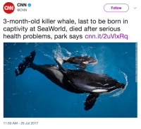 cnn.com, SeaWorld, and Old: CN  Follow  @CNN  3-month-old killer whale, last to be born in  captivity at SeaWorld, died after serious  health problems, park says cnn.it/2uVlxRq  1:50 AM-25 Jul 2017 <p>This makes me so sad :(</p>