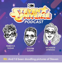 Memes, Link, and Pictures: CN  NIVERSE  PODCAST  REBECCA  SUGAR  STEVEN  SUGAR  MCKENZIE  ATWOOD  RS: And I'd been doodling pictures of Steven Tap the link in our bio to catch the entire interview with @rebeccasugar and @stevensugar on the first episode of The Steven Universe Podcast! 🎧 stevenuniverse