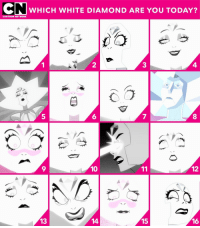 Cartoon Network, Memes, and Mood: CN  WHICH WHITE DIAMOND ARE YOU TODAY?  CARTOON NETWORK  2  4.  6  9  10  12  13  14  15  16 That Wednesday mood 😬😳😫 StevenUniverse WhiteDiamond