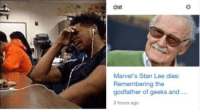 awesomesthesia:  Stan: cnet  0  Marvel's Stan Lee dies:  Remembering the  godfather of geeks and..  3 hours ago awesomesthesia:  Stan