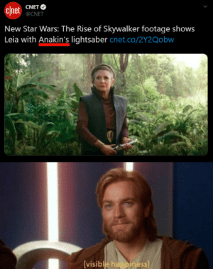 Title: CNET O  chnet  @CNET  New Star Wars: The Rise of Skywalker footage shows  Leia with Anakin's lightsaber cnet.co/2Y2Qobw  [visible happiness] Title