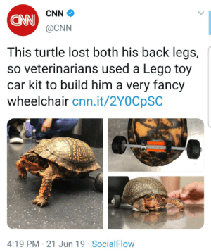 LSU veterinarians created a removable wheelchair for an accident-prone turtle using a Lego car kit, syringe parts and animal safe epoxy: CNN  CAN  @CNN  This turtle lost both his back legs,  so veterinarians used a Lego toy  car kit to build him a very fancy  wheelchair cnn.it/2Y0CpSC  4:19 PM 21 Jun 19 SocialFlow LSU veterinarians created a removable wheelchair for an accident-prone turtle using a Lego car kit, syringe parts and animal safe epoxy