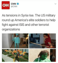 "cnn.com, Isis, and Memes: CNN  CNN  @CNN  As tensions in Syria rise. The US military  round up America's elite soldiers to help  fight against ISIS and other terrorist  organizations  @noxious <p>Syrian Civil War memes are still a good investment! via /r/MemeEconomy <a href=""http://ift.tt/2q17Yyn"">http://ift.tt/2q17Yyn</a></p>"