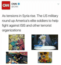https://t.co/Bhs7p4gskM: CNN  CNN  @CNN  As tensions in Syria rise. The US military  round up America's elite soldiers to help  fight against ISIS and other terrorist  organizations  LETS  HIGH  RİGT!  51  Guzma  Y'all are stupid! https://t.co/Bhs7p4gskM