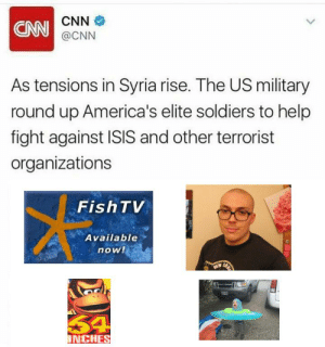cnn.com, Isis, and Soldiers: CNN  CNN  @CNN  As tensions in Syria rise. The US military  round up America's elite soldiers to help  fight against ISIS and other terrorist  organizations  FishTV  Available  now!  54  NCHES https://t.co/zhKLAhYjM6