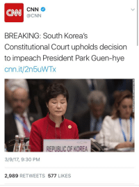 America, cnn.com, and Crazy: CNN  CNN  @CNN  BREAKING: South Korea's  Constitutional Court upholds decision  to impeach President Park Guen-hye  cnn.it/2n5uWTx  REPUBLIC OF KOREA  3/9/17, 9:30 PM  2,989 RETWEETS 577 LIKES vikturi-is-mine:  weavemama:  donaldtrumpcansuckmycock:  weavemama: weavemama:  AMERICA, IT'S YOUR TURN  anyone who's more familiar with WORLD issues wanna explain why she's so hated??? 👀👀👀  She had a crazy cult leader as a personal advisor/mentorkinda like how Trump has Bannon… 🤔  so…… we're pretty much looking into trump's future???? IT'S LIT.   God let's hope so
