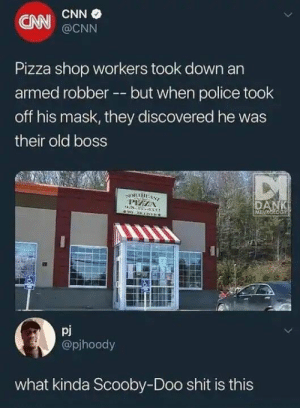 Dang meddlin kids by ScruffyAF MORE MEMES: CNN  CNN  @CNN  Pizza shop workers took down an  armed robber --but when police took  off his mask, they discovered he was  their old boss  pj  @pjhoody  what kinda Scooby-Doo shit is this Dang meddlin kids by ScruffyAF MORE MEMES