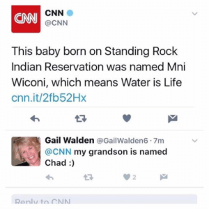 Standing Rock: CNN  CNN  @CNN  This baby born on Standing Rock  Indian Reservation was named Mni  Wiconi, which means Water is Life  cnn.it/2fb52Hx  17  Gail Walden @GailWalden6 7m  @CNN my grandson is named  Chad :  2  Renly to CN