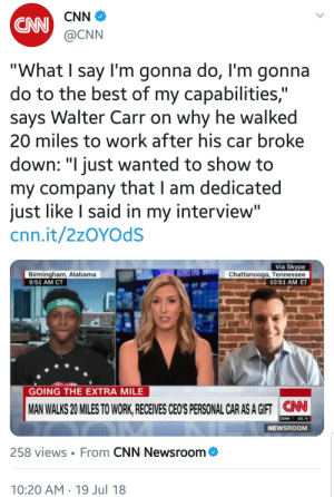"Bad, Birthday, and cnn.com: CNN  CNN  @CNN  ""What I say I'm gonna do, l'm gonna  do to the best of my capabilities,""  says Walter Carr on why he walked  20 miles to work after his car broke  down: ""I just wanted to show to  my company that I am dedicated  just like I said in my interview""  cnn.it/2zOYOdS  Birmingham, Alabama  9:51 AM CT  Via Skype  Chattanooga, Tennessee  10:51 AM ET  GOING THE EXTRA MILE  MAN WALKS 20 MILES TO WORK RECEIVES CEO'S PERSONAL CAR AS A GIFT NN  DOW 101.74  NEWSROOM  258 views From CNN Newsroom  10:20 AM 19 Jul 18 dagwolf: killagouge:  topsydead:  pregnantseinfeld:   kittycatdeathtrap:  pregnantseinfeld:   dagwolf: Vomitous can we please stop pretending this shit is good?!!?! What the fuck!!!!!   I don't understand why this is a bad thing??  whats sold as inspirational here is somebody whose fear of being fired and having their source of food and shelter yanked away from them forced them to push themselves to unhealthy lengths   Exactly!!! We're being told ""be like this guy, he puts his company above his physical safety"". It's a shaming tactic against people who don't prioritize their employers. He was probably stressed the fuck out and needed serious recuperation after that feat, but they're treating it like he sent the boss a birthday card.   I mean, he got a car out of it. He chose the job knowing how far away it was. This should be more of a condemnation of the lack of good public transportation in the south. This isn't unique to Alabama, the only reason it's in the news is because the owner is a decent human being.  I've been citing the preamble to the IWW constitution a lot lately: ""The working class and the employing class have nothing in common.""We must work or perish. All the talk this employee chose the job ""knowing how far away it was"" is bullshit. That he has to choose a job so difficult to get to is nothing more than fodder for further condemnation of our society.  The charitable act here comes with a hidden agenda, as does the awful media representation of the story.    Charity, especially in this manner, is disempowering, condescending, and re-enforces class. Capitalist charity is always about composing the rich as good, generous, noble while composing the poor as short-sighted beggars always guilty of ending up in need of help, and so parasitic. One better hope that the employer in this story pays his employee enough to afford to properly care for and fuel his new car. Worst of all, charity makes people believe capitalism is good because it puts a very nice mask on the whole oppressive affair. That's how we should talk about this story."