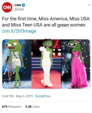 America, cnn.com, and Memes: CNN  @CNN  For the first time, Miss America, Miss USA  and Miss Teen USA are all green womern  cnn.it/2H3mage  5:44 PM May 4, 2019 SocialFlow  3.3K Likes  679 Retweets Invest in the green memes