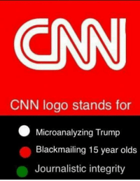 #CNNBlackmail ~SF: CNN  CNN logo stands for  Microanalyzing Trump  Blackmailing 15 year olds  Journalistic integrity #CNNBlackmail ~SF