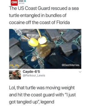 "Legend via /r/funny https://ift.tt/2CLWQuC: CNN  @CNN  The US Coast Guard rescued a sea  turtle entangled in bundles of  cocaine off the coast of Florida  @BestMemes  Cayde-6'5  @Parkour_Lewis  Lol, that turtle was moving weight  and hit the coast guard with ""just  got tangled up', legend Legend via /r/funny https://ift.tt/2CLWQuC"