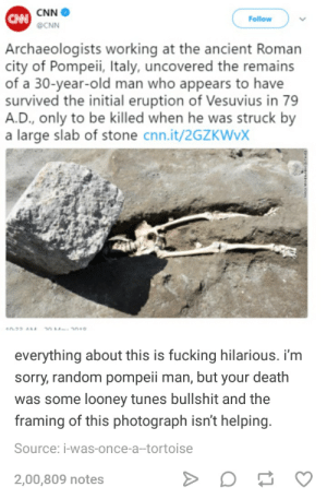 cnn.com, Fucking, and Looney Tunes: CNN  CNNCNN  Follow  Archaeologists working at the ancient Roman  city of Pompeii, Italy, uncovered the remains  of a 30-year-old man who appears to have  survived the initial eruption of Vesuvius in 79  A.D., only to be killed when he was struck by  a large slab of stone cnn.it/2GZKWVX  40-22 AM 4  everything about this is fucking hilarious. i'm  sorry, random pompeii man, but your death  was some looney tunes bullshit and the  framing of this photograph isn't helping.  Source: i-was-once-a-tortoise  2,00,809 notes