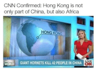 "Africa, cnn.com, and Memes: CNN Confirmed: Hong Kong is not  only part of China, but also Africa  HONG KONG  ! GIANT HORNETS KILL 42 PEOPLE IN CHINA  LIVE  ON  WORLD <p>Something to ponder. via /r/memes <a href=""http://ift.tt/2xSyBVI"">http://ift.tt/2xSyBVI</a></p>"