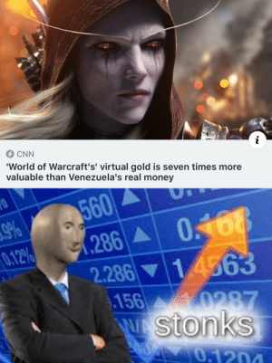 WoW gold  real money: CNN  i  'World of Warcraft's' virtual gold is seven times more  valuable than Venezuela's real money  560  9%  0.12%  0168  .286  2.286 14563  156 0287  W Stonks  0,1204 WoW gold  real money