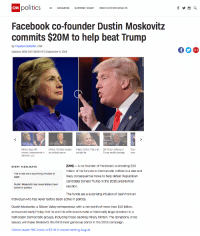 Bad, Bill Clinton, and Children: CNN  N politics 45 CONGRESS SUPREME COURT 2018 ELECTION RESULTS  Facebook co-founder Dustin Moskovitz  commits $20M to help beat Trump  By Theodore Schleifer, CNN  Updated 1639 GMT (0039 HKT) September 9, 2016  01:01  01:32  Clinton slips with  women, independents in  CNN/ORC poll  Clinton: Children treated  as political pawns  Hillary Clinton: That is an  outright lie  Bill Clinton reflects on Trum  Trump media coverage row  (CNN) - A co-founder of Facebook is donating $20  million of his fortune to Democratic coffers in a late and  likely consequential move to help defeat Republican  candidate Donald Trump in the 2016 presidential  election.  STORY HIGHLIGHTS  The funds are a surprising infusion of  cash  Dustin Moskovitz has never before been  active in politics  The funds are a surprising infusion of cash from an  individual who has never before been active in politics.  Dustin Moskovitz, a Silicon Valley entrepreneur with a net worth of more than $10 billion,  announced early Friday that he and his wife would make a historically large donation to a  half-dozen Democratic groups, including those backing Hillary Clinton. The donations, once  issued, will make Moskovitz the third most generous donor in the 2016 campaign.  Clinton super PAC hauls in $21M in record-setting August