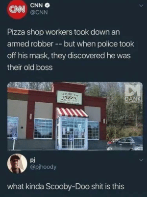 Not sure if this counts as a meme:): CNN O  CNN  @CNN  Pizza shop workers took down an  armed robber -- but when police took  off his mask, they discovered he was  their old boss  DI  PIZZA  DANK  MEMEOLOGY  pj  @pjhoody  what kinda Scooby-Doo shit is this Not sure if this counts as a meme:)