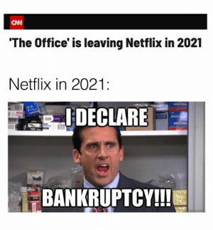 Bankruptcy: CNN  'The Office' is leaving Netflix in 2021  Netflix in 2021:  IDECLARE  BANKRUPTCY!!!  quickmemeCom