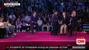 yemme:  beautystrengthwisdom:  bonkai-diaries: Watch Marco Rubio get destroyed by this High School student for accepting the NRA's blood money.  He murdered his ass. A young man did that… Cameron is ready for office!  : CNN Town Hall  Sunrise, Florida  9:48 PM ET  LIVE  CNN  6:48 PM PT  CNN STUDENTS OF STONEMAN DOUGLAS DEMAND ACTION yemme:  beautystrengthwisdom:  bonkai-diaries: Watch Marco Rubio get destroyed by this High School student for accepting the NRA's blood money.  He murdered his ass. A young man did that… Cameron is ready for office!
