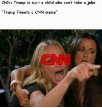 """America, cnn.com, and Facebook: CNN: Trump is such a child who can't take a joke  """"Trump Tweets a CNN meme"""" CNN is so salty... veryfakenews fakenews trumpmemes liberals libbys democraps liberallogic liberal maga conservative constitution presidenttrump resist thetypicalliberal typicalliberal merica america stupiddemocrats donaldtrump trump2016 patriot trump yeeyee presidentdonaldtrump draintheswamp makeamericagreatagain trumptrain triggered CHECK OUT MY WEBSITE AND STORE!🌐 thetypicalliberal.net-store 🥇Join our closed group on Facebook. For top fans only: Right Wing Savages🥇 Add me on Snapchat and get to know me. Don't be a stranger: thetypicallibby Partners: @theunapologeticpatriot 🇺🇸 @too_savage_for_democrats 🐍 @thelastgreatstand 🇺🇸 @always.right 🐘 @keepamerica.usa ☠️ @republicangirlapparel 🎀 @drunkenrepublican 🍺 TURN ON POST NOTIFICATIONS! Make sure to check out our joint Facebook - Right Wing Savages Joint Instagram - @rightwingsavages"""