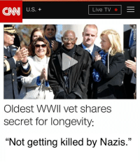 "cnn.com, Live, and Secret: CNN US'+  Live TV  Oldest WWIl vet shares  secret for longevity  ""Not getting killed by Nazis."" Oldest WWII vet shares secret for longevity"