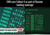 Just in case you thought it looked familiar...: CNN uses Fallout 4 as part of Russian  hacking coverage  TERUMALIKK PROTOCOL  016154  0x3072 ING  OK2988  6637  038315  1 TINGING  GR4602  0.2047 I  SHMENT FOR RUSSIA HACKNG CNN  03367D Just in case you thought it looked familiar...