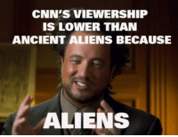 Ancient Aliens: CNN'S VIEWERSHIP  IS LOWER THAN  ANCIENT ALIENS BECAUSE  ALIENS