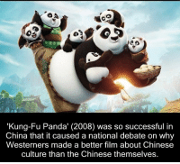 """Memes, China, and Panda: CO  """"Kung Fu Panda (2008) was so successful in  China that it caused a national debate on why  Westerners made a better film about Chinese  culture than the Chinese themselves. https://t.co/MOuQCt5t1i"""