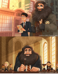 Memes, Favors, and 🤖: co  lulusketches, tumblr. com  lulusketches.bamblr. Covi Hagrid going back to Hogwarts after the war, and Harry taking him to Diagon Alley to return the favor :)  Art by http://lulusketches.tumblr.com/  Luke's little Werewolfgirl
