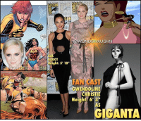 "FAN CAST FRIDAY! Casting ""Game of Thrones"" star gwendolinechristie as GIGANTA for a Wonder Woman sequel starring @gal_gadot. * The long time WONDER WOMAN villain rose to frame during the ""Challenge of the SuperFriends"" tv series where she would often do battle with Apache Chief. She continued in popularity on ""Justice League Unlimited"" animated series as part of Gorilla Grodd's Legion of Doom. * In her comic history since 1944, Dr. Doris Zuel is a brilliant scientist who had a rare blood disease. Experimenting on herself, she found a cure using a radical procedure that gave her the superhuman ability to increase her physical size and mass, growing to over several hundred feet. As a giantess, she possesses superhuman strength, durability, and limited invulnerability. She retains her intelligence when she grows. *** mywonderwoman girlpower women femaleempowerment MulherMaravilha MujerMaravilla galgadot unitetheleague princessdiana dianaprince amazons amazonwarrior manofsteel thedarkknight giganta gameofthrones captainphasma: CO  NTERN  NTERNAT  0  OWONDERVAUGHN  AL  ADOT  eight: 5' 10  FAN CAST  ENDOLINE  CHRISTIE  20  CH  Height: 63  AS  GIGANTA FAN CAST FRIDAY! Casting ""Game of Thrones"" star gwendolinechristie as GIGANTA for a Wonder Woman sequel starring @gal_gadot. * The long time WONDER WOMAN villain rose to frame during the ""Challenge of the SuperFriends"" tv series where she would often do battle with Apache Chief. She continued in popularity on ""Justice League Unlimited"" animated series as part of Gorilla Grodd's Legion of Doom. * In her comic history since 1944, Dr. Doris Zuel is a brilliant scientist who had a rare blood disease. Experimenting on herself, she found a cure using a radical procedure that gave her the superhuman ability to increase her physical size and mass, growing to over several hundred feet. As a giantess, she possesses superhuman strength, durability, and limited invulnerability. She retains her intelligence when she grows. *** mywonderwoman girlpower women femaleempowerment MulherMaravilha MujerMaravilla galgadot unitetheleague princessdiana dianaprince amazons amazonwarrior manofsteel thedarkknight giganta gameofthrones captainphasma"