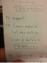 Can anyone explain what is happening to the sin(x) from the second step to the third? Looks like it's just vanishing. Mistake or correct?: Co six 5in 62 x  dy.  2 sin x cos x dy  Cost Can anyone explain what is happening to the sin(x) from the second step to the third? Looks like it's just vanishing. Mistake or correct?