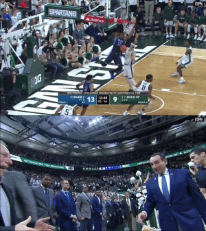 Espn, Memes, and Duke: CO  STAT  ESPN  SPARTANS  StateFarm  msusbartans.com  BIG  BIG TENJACC CHALLENGE PRESENTED BY CONTINENTAL TIRE  10 DUKE  12:48  11 MICH ST  5-2  7-13 13  26 1st  FOULS:3  P  FOULS: 4   SHT T  SNO  SHO14  ESPN  INTRODUCING VISA SIGNATURE  ON OF ATH  OFFICIAL Tre Jones and Vernon Carey Jr. combined for 46 points in @dukebasketball's big win over Michigan State 💪  Watch the highlights ⬇️ https://t.co/brGm5nw9VB